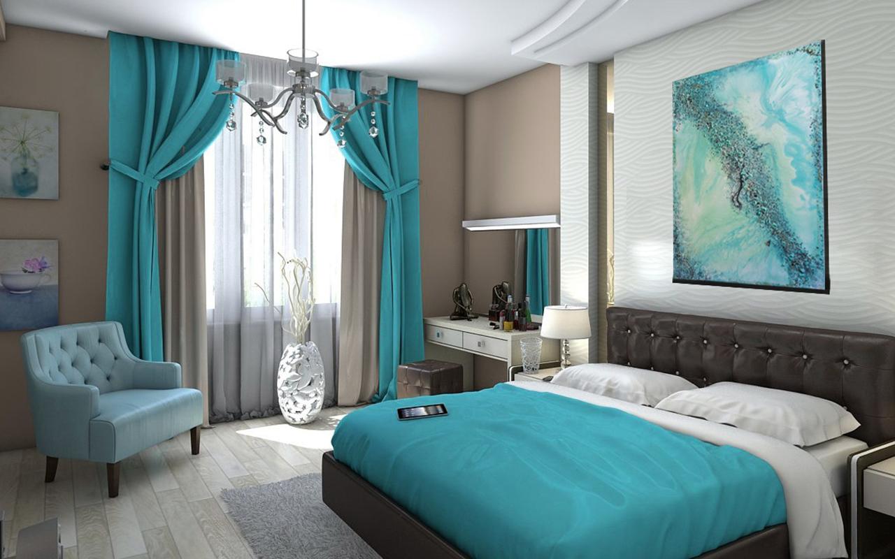 В спальне бирюзовые стены фото дизайн